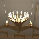 A brass chandelier with 24 glass-enclosed bulbs