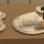 Tableware with complex specular transport, lit by the chandelier