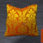 A Jacquard brocade pillow made using satin and twill weaves