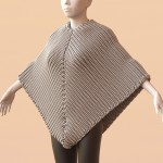 Knitted poncho with a Ribbing pattern, simulated on a mannequin