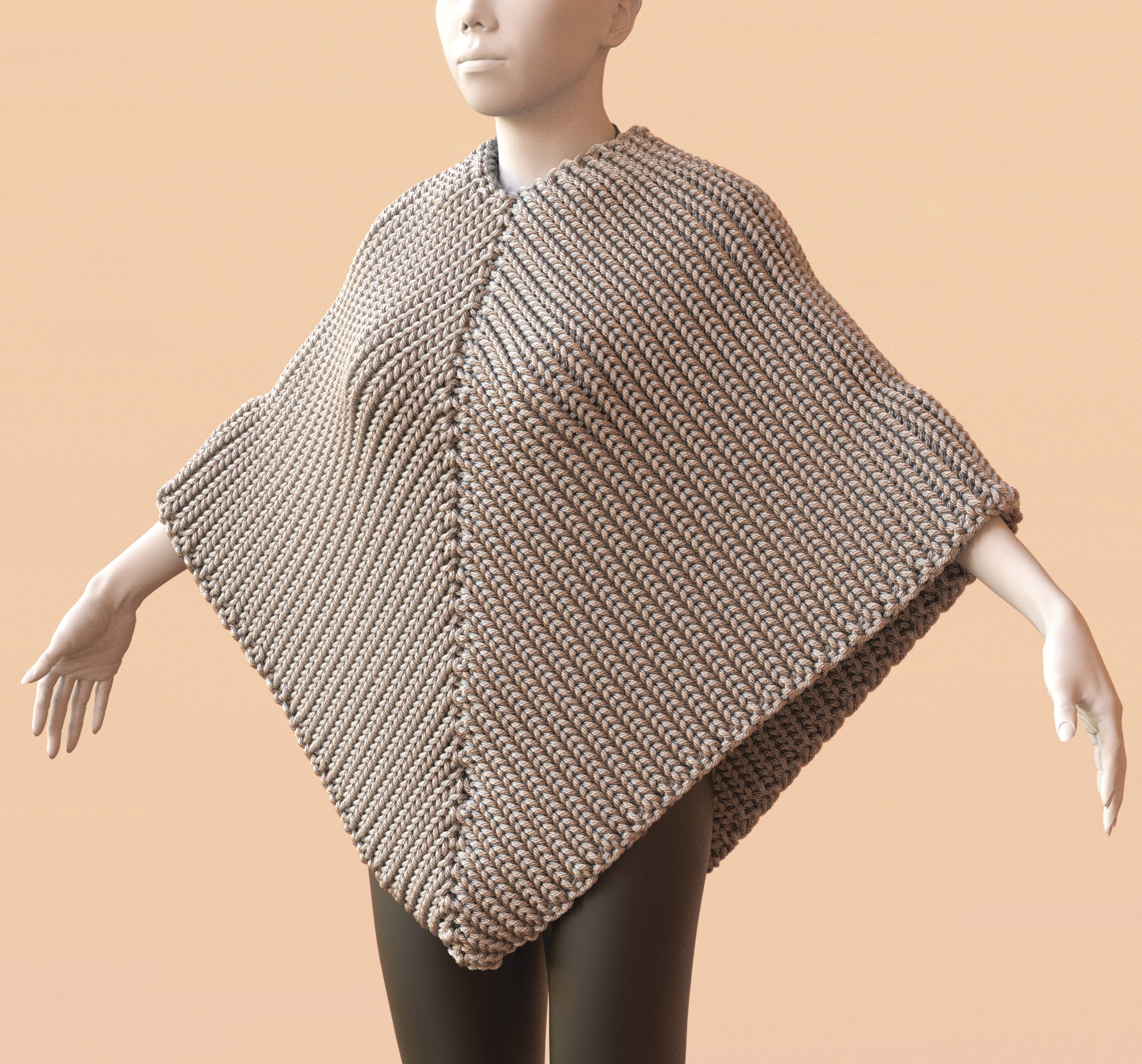 Pattern For Knitted Poncho : poncho   Mitsuba Development Blog