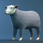 A knitted sweater dress for a sheep with Ridged Feather pattern