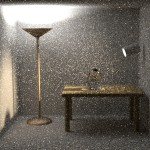 A classic test scene by Veach, rendered using plain path tracing.