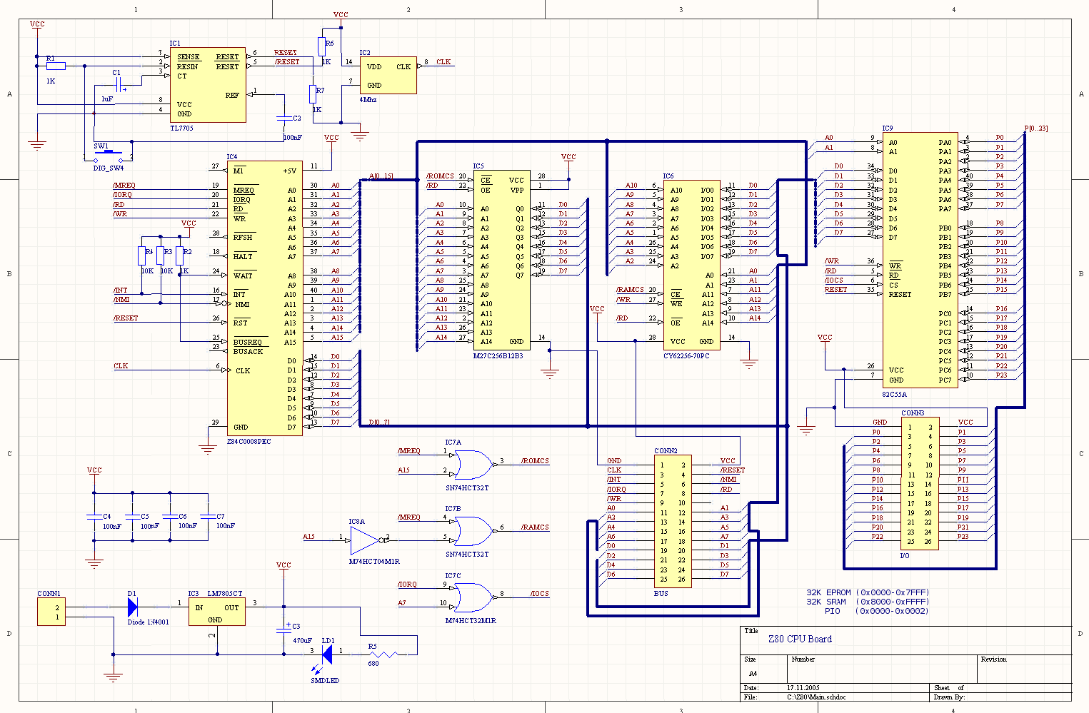 A Homebrew Z80 Microcomputer Circuit Board Diagram Layout There Are Also Pdf Files Of The Schematics And